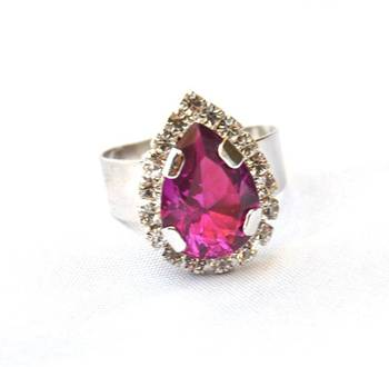 Purple Drop Diamond Ring