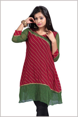 Lovely Maroon and Green Georgette Printed Kurti
