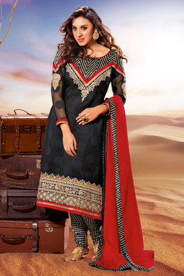Beautiful Black Crepe Salwar Kameez Decked with Zari Embroidery and Stone Work