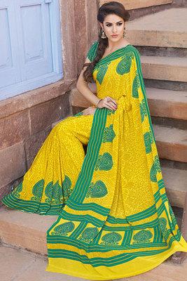 Yellow  Printed Salwar Kameez Made of Art Silk Fabric