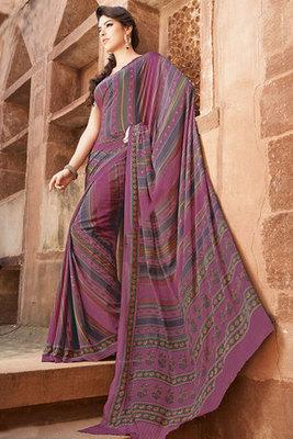 Pink Art Silk Saree Showing Printed Work