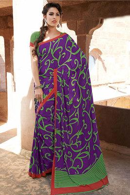 Attractive Purple Art Silk Printed Saree