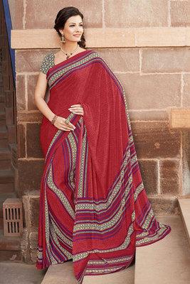 Maroon Printed Saree Made Of Art Silk Fabric