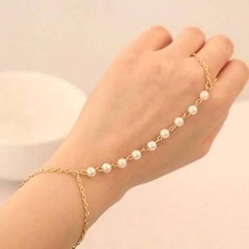 Kundan Pearl Gold Designer Classic Pretty Haathful