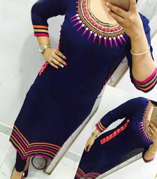Buy Blue embroidered georgette semi stitched kurti pakistani-kurti online