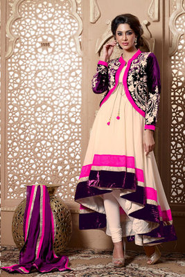 Mind-blowing Cream Georgette Fancy Suit Decked with Embroidery work