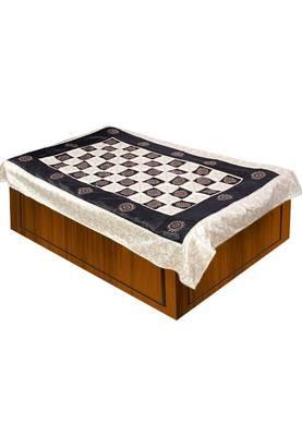 Cream Black Polysilk Single Bedsheet