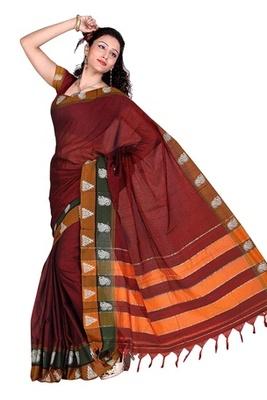 Triveni Stylish Maroon Border Worked Cotton Sari TSMRCC416