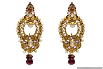 ANTIQUE GOLDEN STONE STUDDED EARRINGS/HANGINGS (VIOLET)  - PCAE2026