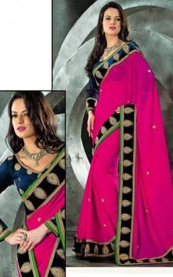 Fuschia faux chiffon brasso designer sari saree with blouse for party weddings festival gift