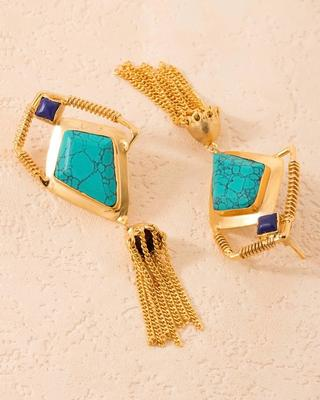Blue-Green Stones Adorned Dangler Earrings