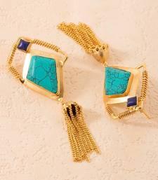 Buy Blue-Green Stones Adorned Dangler Earrings gemstone-earring online