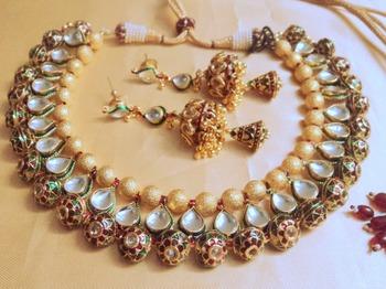 jaipuri meena balls necklace set