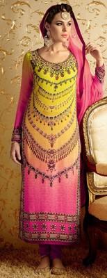 Lemon pink cotton satin Embroidered dress