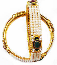 Buy Gold plated pearl bangles bangles-and-bracelet online