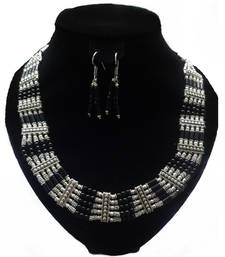 Buy Silver with black beads necklace necklace-set online