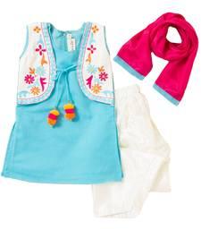 Buy Sky blue embroidered chanderi kids salwar suits kids-salwar-suit online