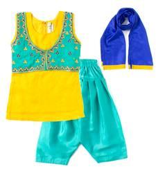 Buy Yellow embroidered chanderi kids salwar suits kids-salwar-suit online