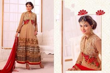 Beige red Georgette Embroidered Anarkali suit