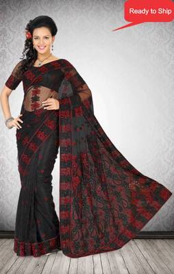 Black Color Net Saree with Blouse