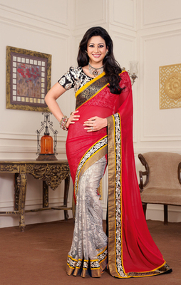 Hypnotex Chiffon Off White+Maroon Saree Mace 2001