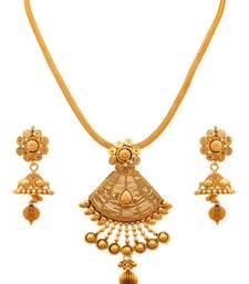 Buy JFL - Traditional Ethnic Spiral Floral Flower One Gram Gold Plated Designer Pendant Set  Pendant online