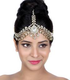 Buy Exotic Design Matha Patti For Wedding Gold Finishing with Pearl and Stone in White eid-jewellery online