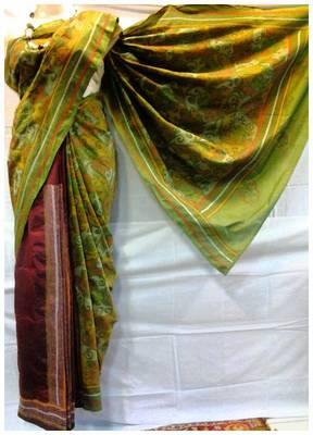 Art Silk Kantha Saree in Green color k4