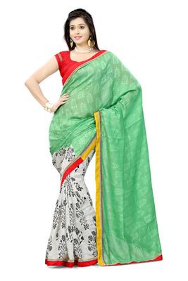 Hypnotex Bhagalpuri jacquard + cotton jacquard See Green+Off White Saree Tvisha 6006