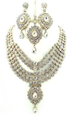 Bridal clear white 5 line kundan cz gold tone long necklace earring set o3