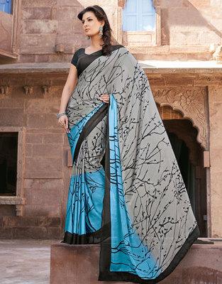 Hypnotex Art Silk Grey+Blue Saree Paris 9642