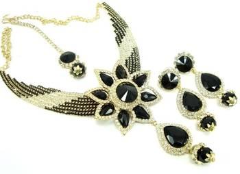 Party wear black crystal kundan cz gold tone necklace earring set o13
