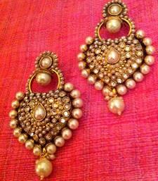 Buy Royal antique really ethnic pearl polki Mughal Rajputana ADIVA earring  PSEAZ003WH j40w danglers-drop online