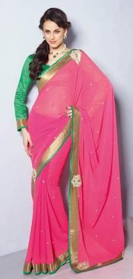 Pink Embroidered chiffon saree SC30022A