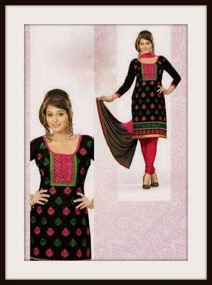 Embroidered cotton dress material::Salwar kameez
