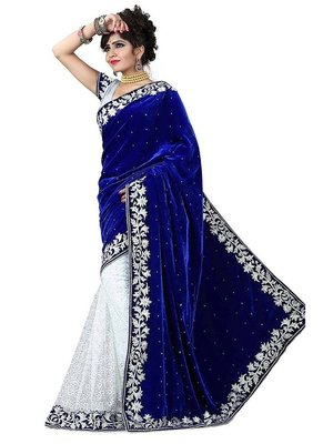 blue brasso brasso saree With Blouse