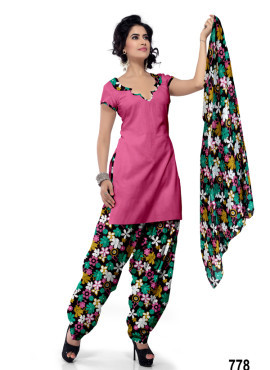 Punjabi Style Pink Cotton Patiala Salwar Kameez