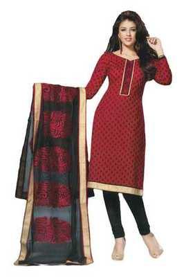 Salwar Studio Maroon & Black Chanderi Cotton unstitched churidar kameez with dupatta Geet-33005