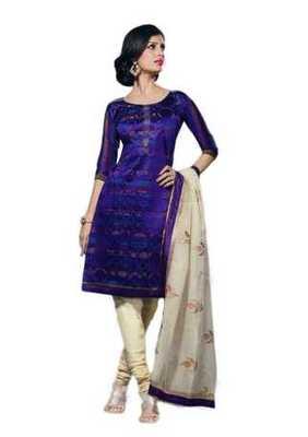 Salwar Studio Blue & Fawn Chanderi Cotton unstitched churidar kameez with dupatta Geet-33007