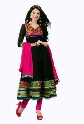 Salwar Studio Black & Pink Pure Chanderi unstitched churidar kameez with dupatta Gulnaar-24007
