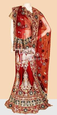 Sizzling red beautiful heavy design work bridal lehenga
