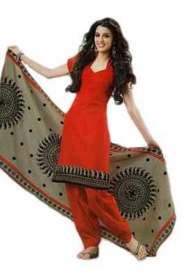Salwar Studio Red & Grey Cotton unstitched churidar kameez with dupatta Rukhsana-23002