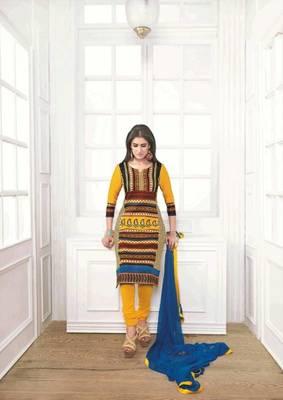 Enigmatic Satin Cotton Yellow Salwar Kameez