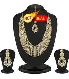 Buy Dazzling Gold Plated Australian Diamond Necklace Set black-friday-deal-sale online