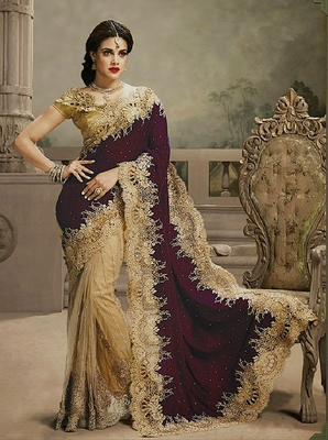 maroon and  chiku embroidered velvet saree with blouse