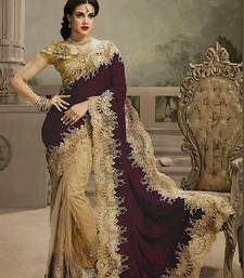 Buy maroon and  chiku embroidered velvet saree with blouse bridal-saree online