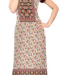 Buy multicolor Color Cap sleeve and Boat Neck Faux Crepe Kurti long-kurti online