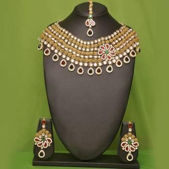 Designer Golden Color Necklace Set By Apcreation