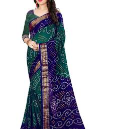 Buy Bandhani Saree (Green hand woven Bandhani saree With Blouse) black-friday-deal-sale online