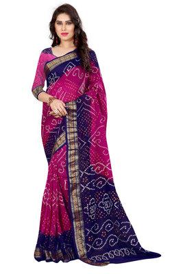 Bandhani Saree (Pink  hand woven Bandhani saree With Blouse)